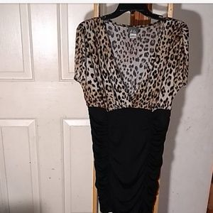 Animal print and black dress by dots, size 1X